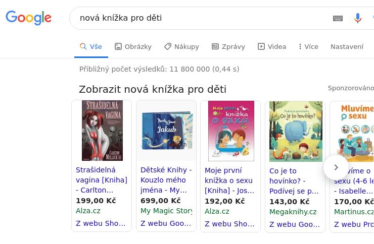 Výsledky hledání v Google pro klíčové slovo