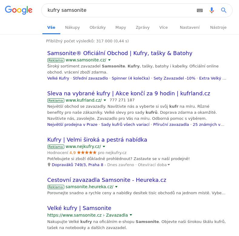Ukázka pokrytí brandu, výsledky v Google pro klíčové slovo: kufry Samsonite