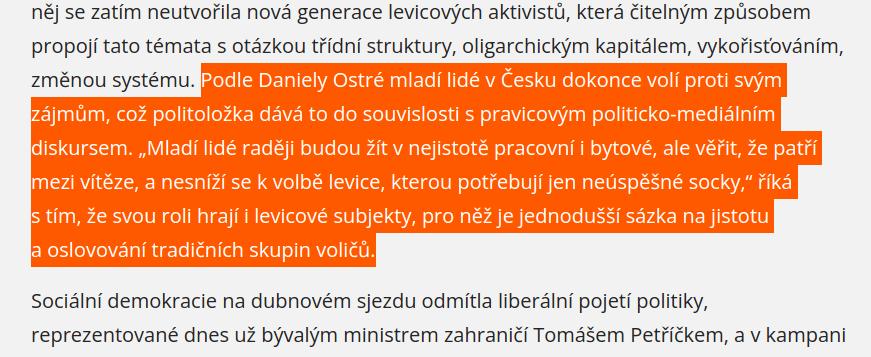 Zdůvodnění Daniely Ostré, proč mladí v ČR nevolí levici